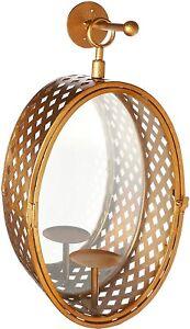 IMAX 85453 Artisan Hand Crafted Crestine Mirror Candle Lantern