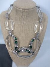 Statement Alexis Bittar Faux Emerald Diamond Crystal lucite Silver Tone necklace