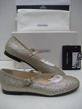 $450 NIB Dolce & Gabbana D&G Big Girl Youth US 6 Gold Glitter Flats Ballet Shoes