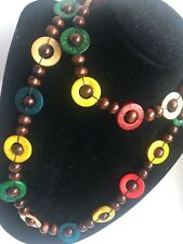 Multi Wooden Wood Retro Style Long Single Strand Autumn Winter Beaded Necklace