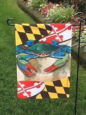 Blue Crab Flag Maryland State Garden Sz Nautical Beach Coastal Summer Made In Us