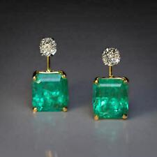 4.75 CT Green Emerald Cut 14K White Gold Over Diamond Retro Earrings 925 Silver