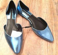 Zara Azul Zapatos Planos En Punta Ex-Display UK6 EU 40