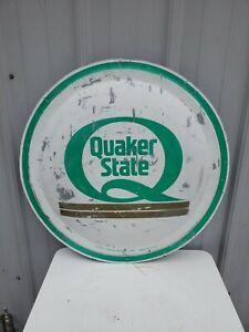 "Vintage Quaker State Round Metal Sign 24"" x 24"" Motor Oil Domed"