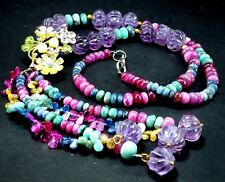 Splendid Real Emerald Sapphire Ruby Bead Melon Carved Amethyst  Flower Necklace