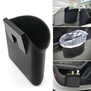 1x Black Universal Car Wastebasket Trash Holder Litter Bin Storage Box Organizer