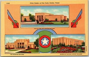 Dallas TX 1940 Civic Center Fair Park Multiview Fine Arts Linen Old Postcard C12