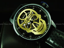 NIB Invicta Men 48mm Golden Skull TY2807 Mechanical S1 Rally Black IP SS Watch