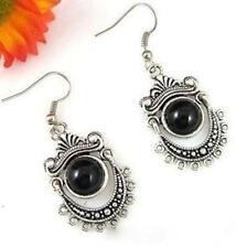 hot beautiful Black jade tibet silver flower earring