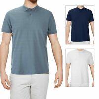 Threadbare Mens Designer Stockton Textured Striped Polo Shirt Soft Cotton Top