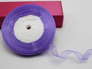 """50 Yards 1/2"""" (12mm) Wedding Crafts Sheer Organza Ribbon Color Choice"""