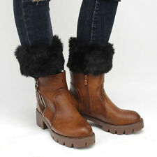 Women Winter Crochet Boot Cuffs Fur Design Knit Boot Toppers Socks Leg Warmers