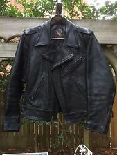 VTG Worn Out West Johnson Leathers Black Motorcycle Jacket Med Made in USA