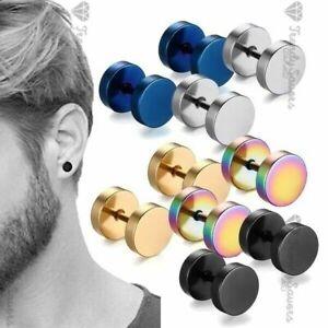 Men Women Kids Screw Stud Earrings Steel Cheater Fake Gauges Ear Plugs PAIR