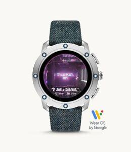 Diesel ON Axial HR Cardio Silver Tone Blue Denim Touchscreen Smartwatch DZT2015