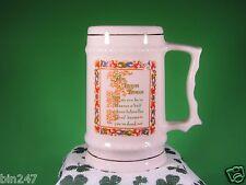 Irish Beer Stein Mug Tall White Decorative Gold Trim Toast Blessing EUC