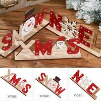 Christmas Wooden Letters Desktop Ornaments Simple Home Table Party Decorations