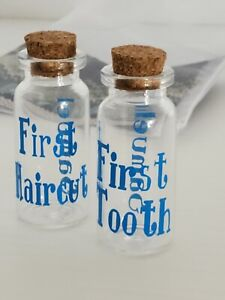2 Personalized Baby Boy Or Girl Keepsake First Curl Hair ~ First Tooth Mini Jar