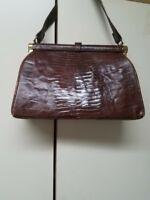 VINTAGE! 1950s Brown Genuine Alligator Med Frame Pocketbook Handbag Purse EC!
