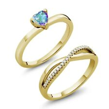 0.86 Ct Mystic Topaz 18K Yellow Gold Plated Silver Engagement Ring Set