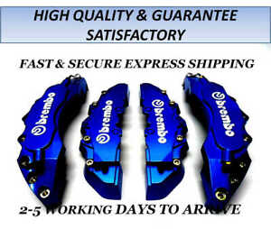 HIGH QUALITY BIG & MEDIUM DARK BLUE CAR BRAKE CALIPER COVERS KIT FRONT REAR 4 PC