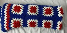 Granny Square Afghan Patriotic Red/White/Blue Bicentennial