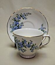 Queen Anne Bone China Forget-Me-Not Footed Tea Cup and Saucer Pattern no. 7527