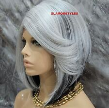 Human Hair Blend Bob W Bangs Off Black Gray Mix Full Lace Front Wig Hair Piece