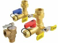 """Brass Tankless Hot Cold Water Heater Service Relief Valves Flush Kit 3/4"""" Thread"""