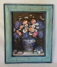 """Hand Painted Bouquet of Flowers in Vase on Canvas by Mark  17""""x21"""" Inches"""