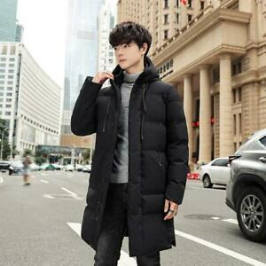 M-8XL Mens Thicken Cotton-padded Jackets Hooded Parka Warm Midi-Length Coats New