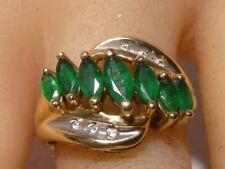 Emerald & Diamond 14K Gold Ring Marquise Cut Emeralds Amazing Unique Amazing