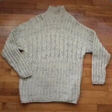 BURTON size XL mens woollen chunky cable knit fleck oatmeal sweater jumper