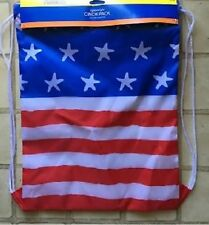 AMERICAN FLAG USA Fourth of July  Themed Drawstring Bag Cinch Pack ~ NEW