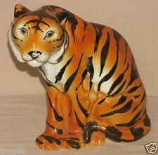 """Vintage Italy Hand Painted Porcelain Siberian Tiger Figurine 8"""" Tall"""