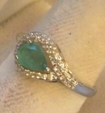 Size 8.25 Natural Colombia Emerald 7mmRound Gemstone Ring 14k Gold  Over Silver
