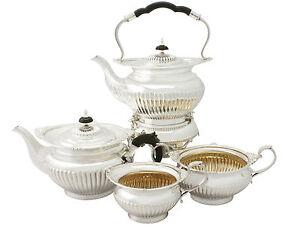 Antique Edwardian Four Piece Silver Tea Set Queen Anne Style