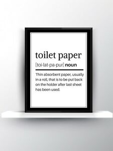 Toilet Paper Definition Print Wall Art Quote Funny Home Decor Gift Love A4