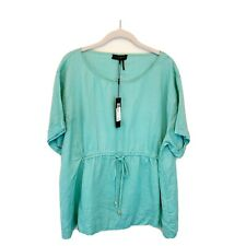 NEW DKNY Womens XL NWT Linen Lagenlook Blouse Popover Solid Blue