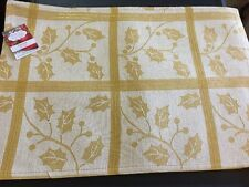 Perfect Setting CHRISTMAS Placemats Gold Holly Plaid Metallic Lurex Cotton Set 4