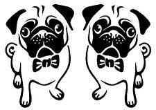 Etiqueta del vinilo de corte Adhesivos Para Coche Furgoneta Camión 2 X opuestas Pug Perros-dibujos animados