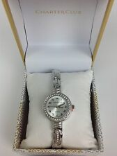 NIB~CHARTER CLUB WOMENS ROUND CRYSTAL ACCENT STAINLESS STEEL BRACELET WATCH 24MM