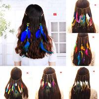 Woman Headbands Feather Headband Hair Bands Accessories Hippie Boho Feathers