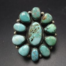HUGE Signed NAVAJO Sterling Silver & TURQUOISE Cluster RING, size 9.25, 31.0g