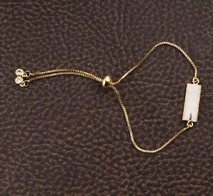 Unique White Sugar Druzy Bar Shape Yellow Gold Plated Adjustable Chain Bracelets