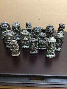 LOT of 13 Artifacts Aztec Mayan Pre Columbian Replicas Reproduction Resin Pieces