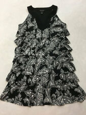 White House Black Market S Small Tiered Paisley Floral Ruffle Rhumba Dress