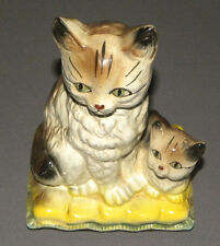 "Vintage Mother Cat & Kitten on Yellow Pillow Figure 1970s Statue 7.5"" Porcelain"