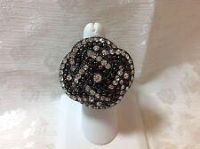 Rhinestone & Granulation Black Elastic Ring - Fun Fashion Ring!!