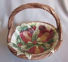 Handled Candy Basket Christmas Fitz & Floyd Winter Fruit Pattern Pomegranate